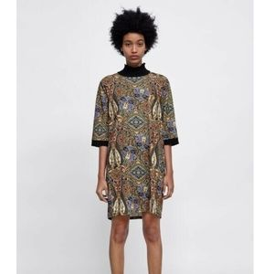 Zara CONTRASTING Dress Turtle Neck Paisley Loose